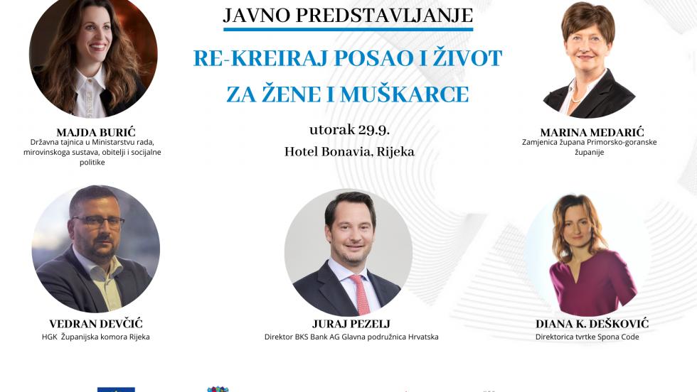 """Predstavljanje novog EU projekta """"Re-kreiraj posao i žvot za žene i muškarce"""" u Rijeci"""